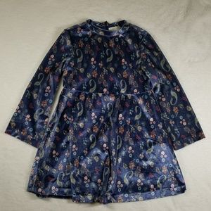 Zara Blue Velvet Floral Dress Girl Size 6